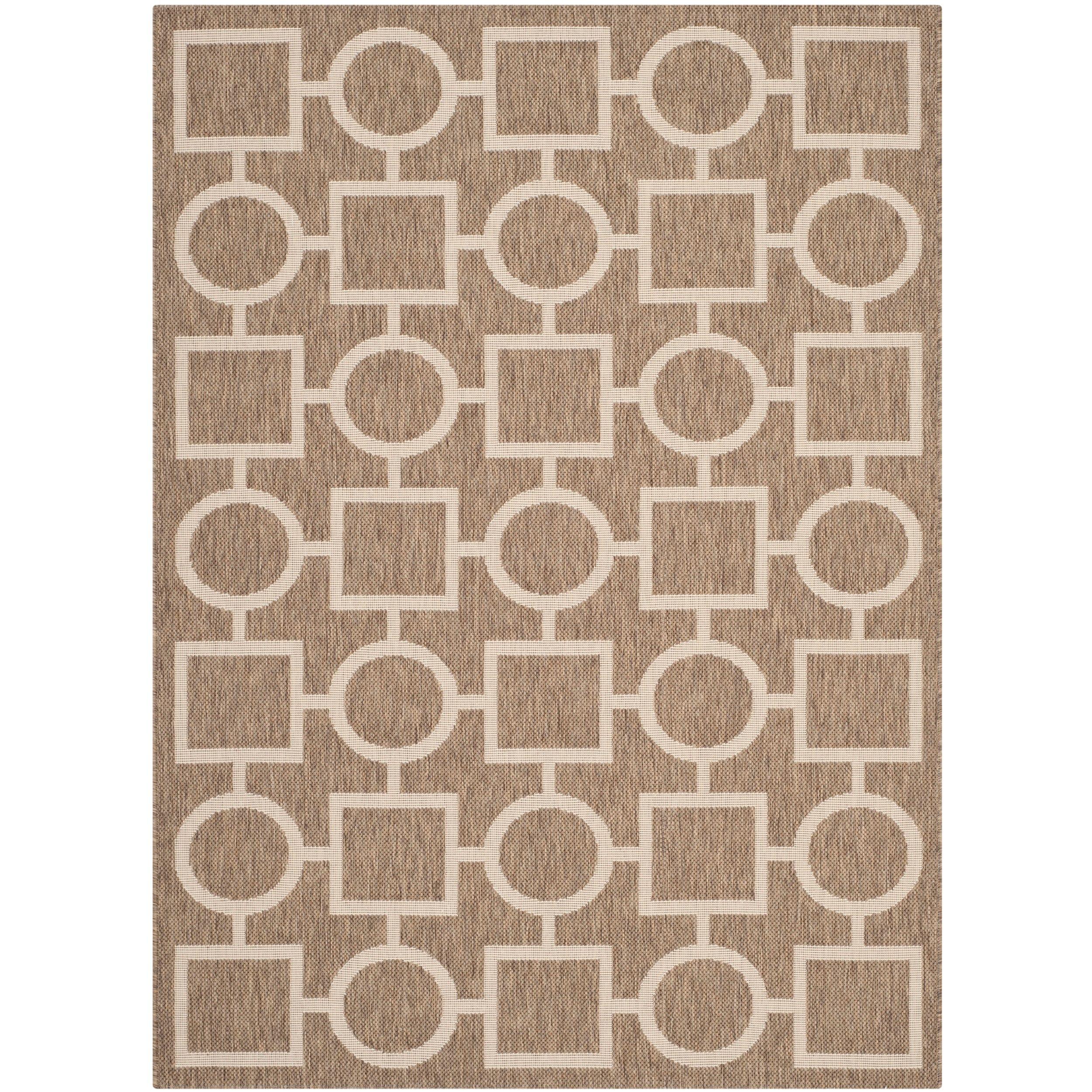 Safavieh Indoor/ Outdoor Courtyard Brown/ Bone Polypropylene Rug (53 X 77)