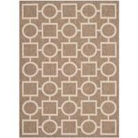 Safavieh Indoor/ Outdoor Courtyard Brown/ Bone Polypropylene Rug - 5'3 x 7'7