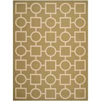 Safavieh Indoor/ Outdoor Courtyard Squares-and-circles Green/ Beige Rug - 8' x 11'