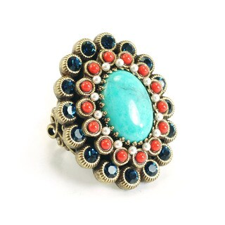 Sweet Romance Coral and Turquoise Southwest Enamel Statement Ring