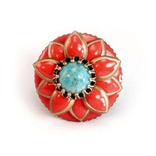 Sweet Romance Coral Enamel and Turquoise Southwest Ring