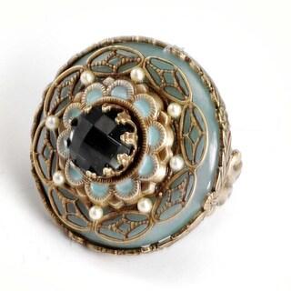 Sweet Romance Aqua Green Medallion Ring