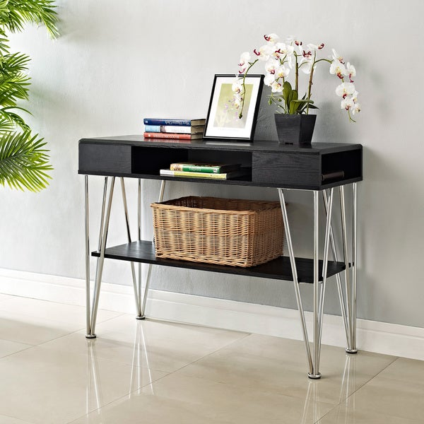 Ameriwood Home Rade Black Oak Finish Console Table