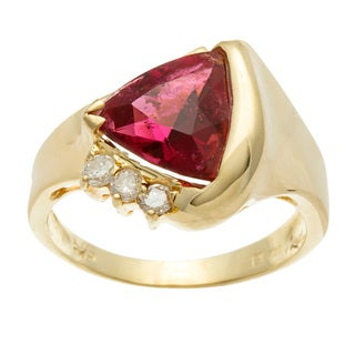 Kabella Luxe 14k Yellow Gold Pink Tourmaline and 1/6ct TDW Diamond Ring (H-I, I1-I2)