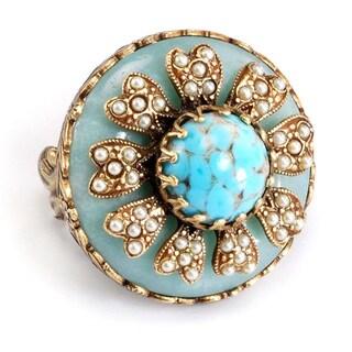 Sweet Romance Turquoise Amazonite Pearl Boho Ring