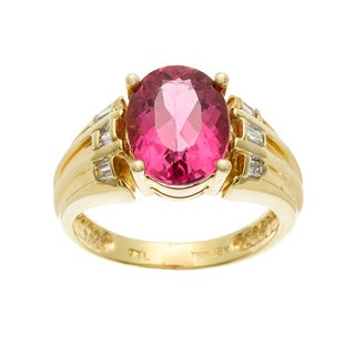 18k Gold Pink Tourmaline and 1/6ct TDW Diamond Ring (H-I, SI1-SI2)