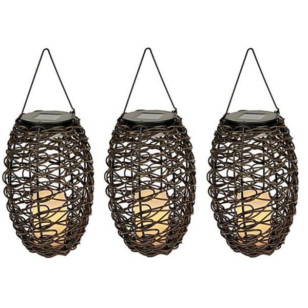 Set Of 3 Paradise Solar Powered Grapevine Basket