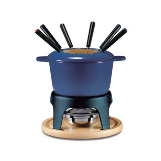 Swissmar Sierra 11-Piece Deep Blue Enameled Meat Fondue Set