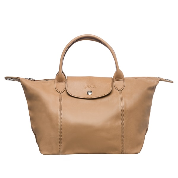 Small Cuir' Pliage Handbag Shop 'le Leather Free Tan Longchamp zMqGSUpV