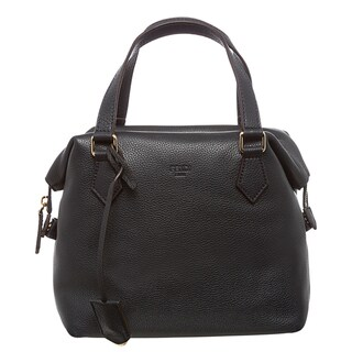 Fendi Navy Pebbled Leather Satchel