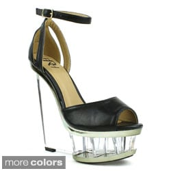 Fahrenheit Women's 'Naya-02' Cut-out Lucite Wedge Sandals