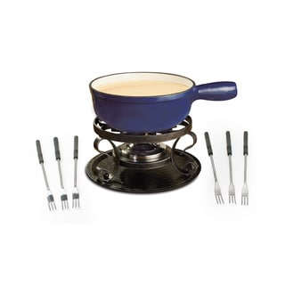 Swissmar Lugano 2-Quart 9-Piece Deep Blue Cast Iron Cheese Fondue Set