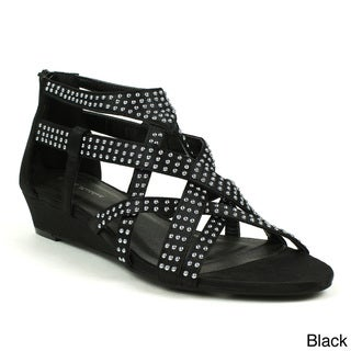 Mark & Maddux Women's 'Jimmy-03' Studded Satin Wedge Sandals