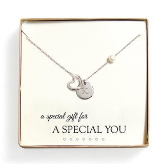 Personalized 'A Special Gift For You' FW Pearl Heart Necklace (8 mm) - 16""