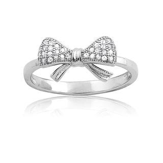 La Preciosa Sterling Silver Small CZ Bow Ring