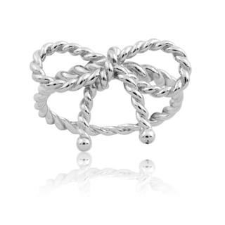 La Preciosa Sterling Silver Twist Bow Ring
