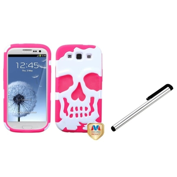 INSTEN Silver Stylus/ Hybrid Phone Case Cover for Samsung Galaxy S III/ S3