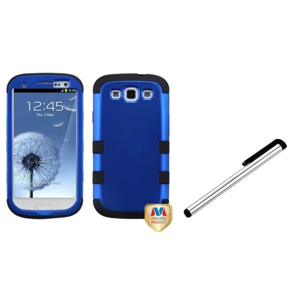 INSTEN Silver Stylus/ TUFF Hybrid Phone Case Cover for Samsung Galaxy S III/ S3