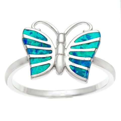 La Preciosa Sterling Silver Blue Inlaid Opal Butterfly Ring