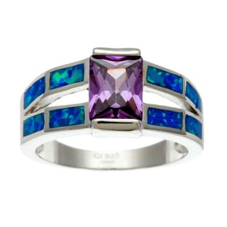 La Preciosa Sterling Silver Purple Rectangular-cut CZ and Created Blue Opal Ring