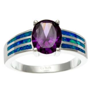La Preciosa Sterling Silver Purple Oval-cut CZ Heart and Created Blue Opal Ring