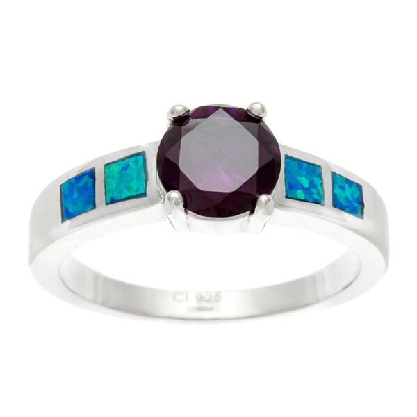 La Preciosa Sterling Silver Blue Inlaid Opal and Amethyst CZ Ring