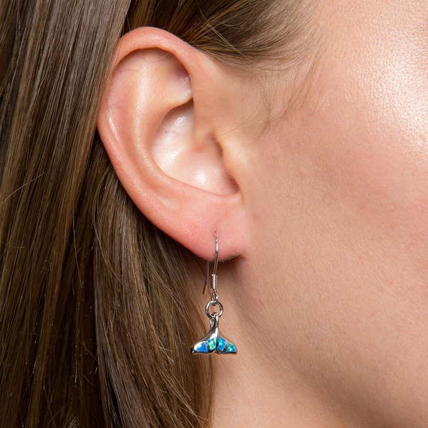 Created Blue Opal Whale Tail Earrings in Sterling Silver