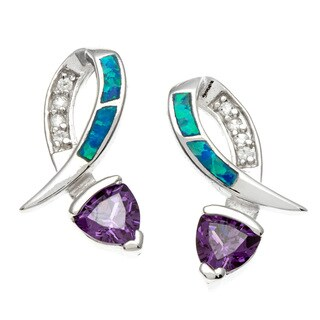 La Preciosa Sterling Silver Blue Opal and Amethyst CZ Earrings
