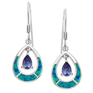 La Preciosa Sterling Silver Blue Opal and Amethyst CZ Teardrop Earrings