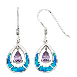 La Preciosa Sterling Silver Blue Opal and CZ Teardrop Earrings (2 options available)