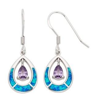 La Preciosa Sterling Silver Blue Opal and CZ Teardrop Earrings