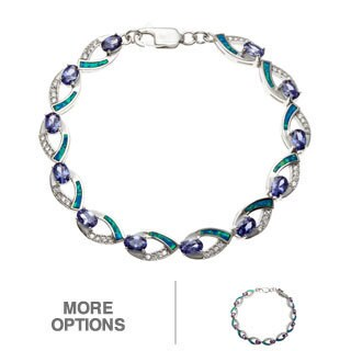 La Preciosa Sterling Silver Blue Opal and CZ Link Bracelet