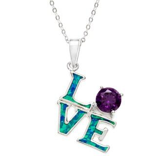 La Preciosa Sterling Silver Created Blue Opal and CZ 'Love' Necklace