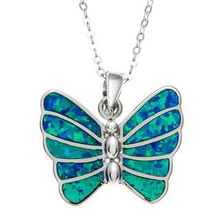 La Preciosa Sterling Silver Blue Opal Butterfly Pendant