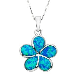 Link to La Preciosa Sterling Silver Created Blue Opal Flower Necklace Similar Items in Necklaces
