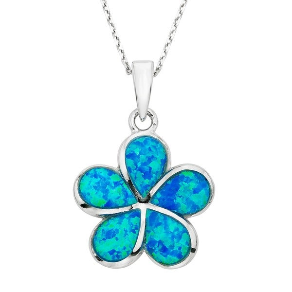 La Preciosa Sterling Silver Created Blue Opal Flower Necklace
