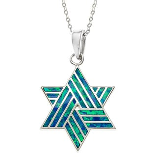 La Preciosa Sterling Silver Blue Opal Star of David Pendant