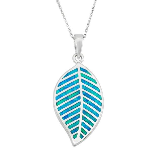 La Preciosa Sterling Silver Created Blue Opal Leaf Necklace