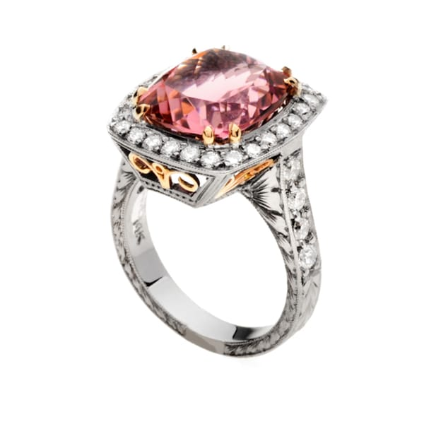 14k Two-tone Gold Pink Tourmaline and 1ct TDW Diamond Ring (G, VS2)
