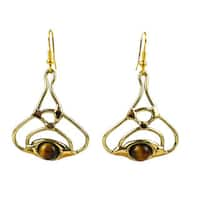 Handmade Golden Tiger Eye Bloom Brass Earrings (South Africa)