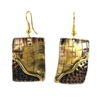 Handcrafted Convergence Brass Earrings (South Africa)