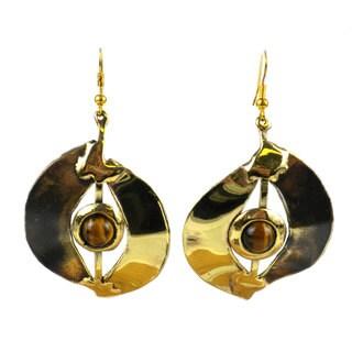 Handmade Tiger Eye Almond Brass Earrings (South Africa)