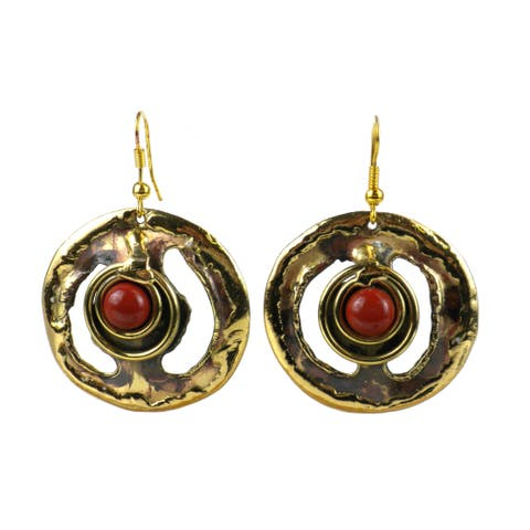 Handmade Earth's Core Red Jasper Brass Earrings (South Africa)