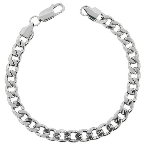Stainless Steel Men's 8.75-inch Curb Chain Bracelet