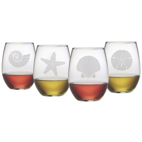 Seashore Collection Stemless Wine Glasses (Set of 4)