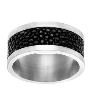 La Preciosa Stainless Steel and Black Stingray Leather Band