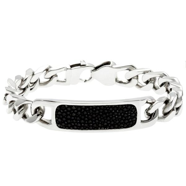 La Preciosa Stainless Steel and Black Stingray Leather Link Bracelet