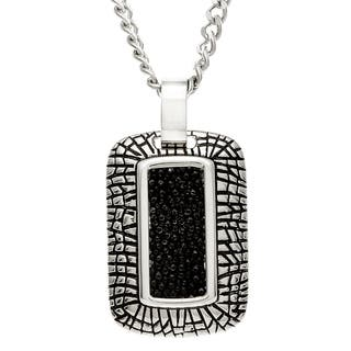 La Preciosa Stainless Steel and Black Leather Necklace|https://ak1.ostkcdn.com/images/products/8206335/8206335/La-Preciosa-Stainless-Steel-and-Black-Leather-Necklace-P15539448.jpg?impolicy=medium