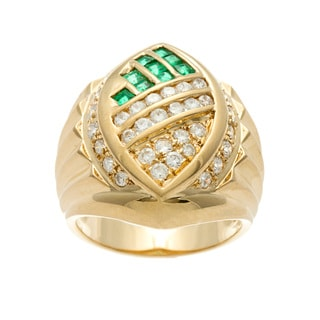 Kabella Luxe Vintage 18k Gold Emerald and 4/5ct TDW Diamond Collage Ring (G-H, SI1-SI2)