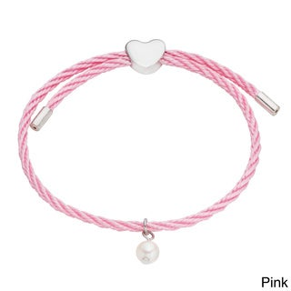 Pearlyta Kid's Silver and Colored Cord Pearl and Heart Charm Bracelet (6 mm) - Pink